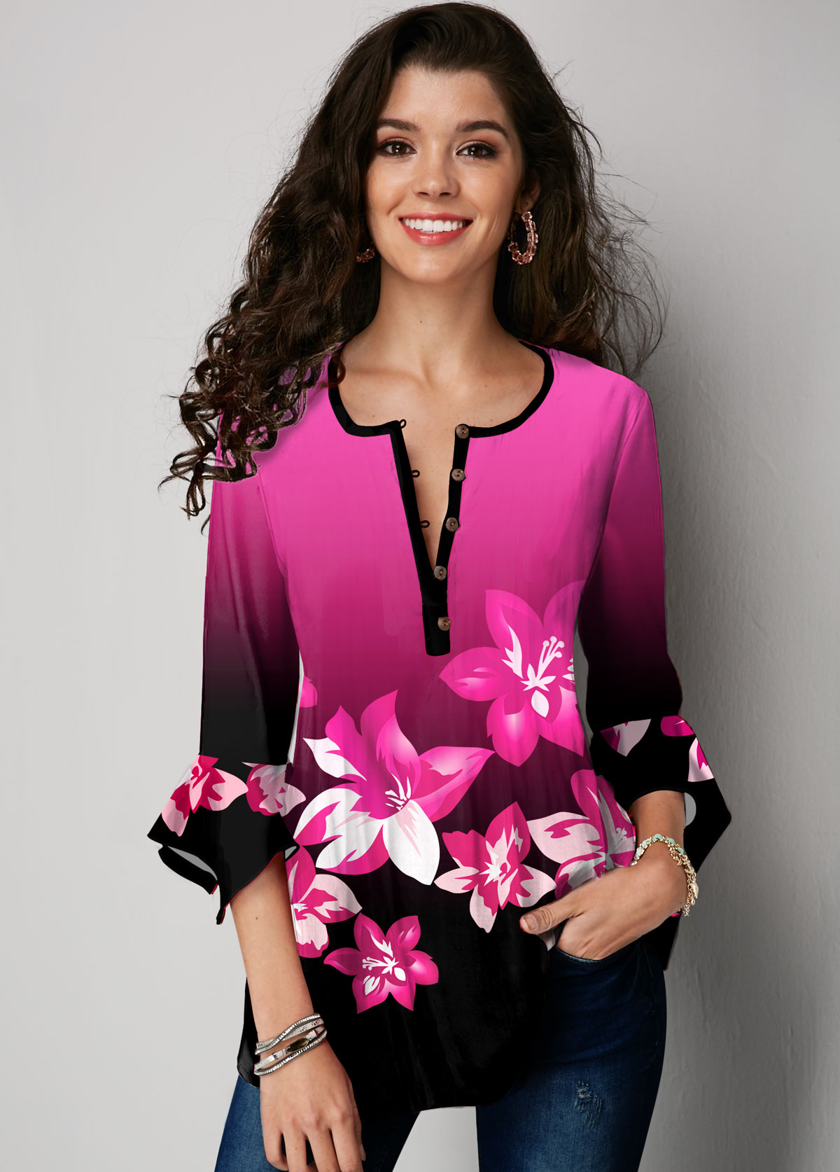 Floral Print Ombre Hanky Cuff Blouse