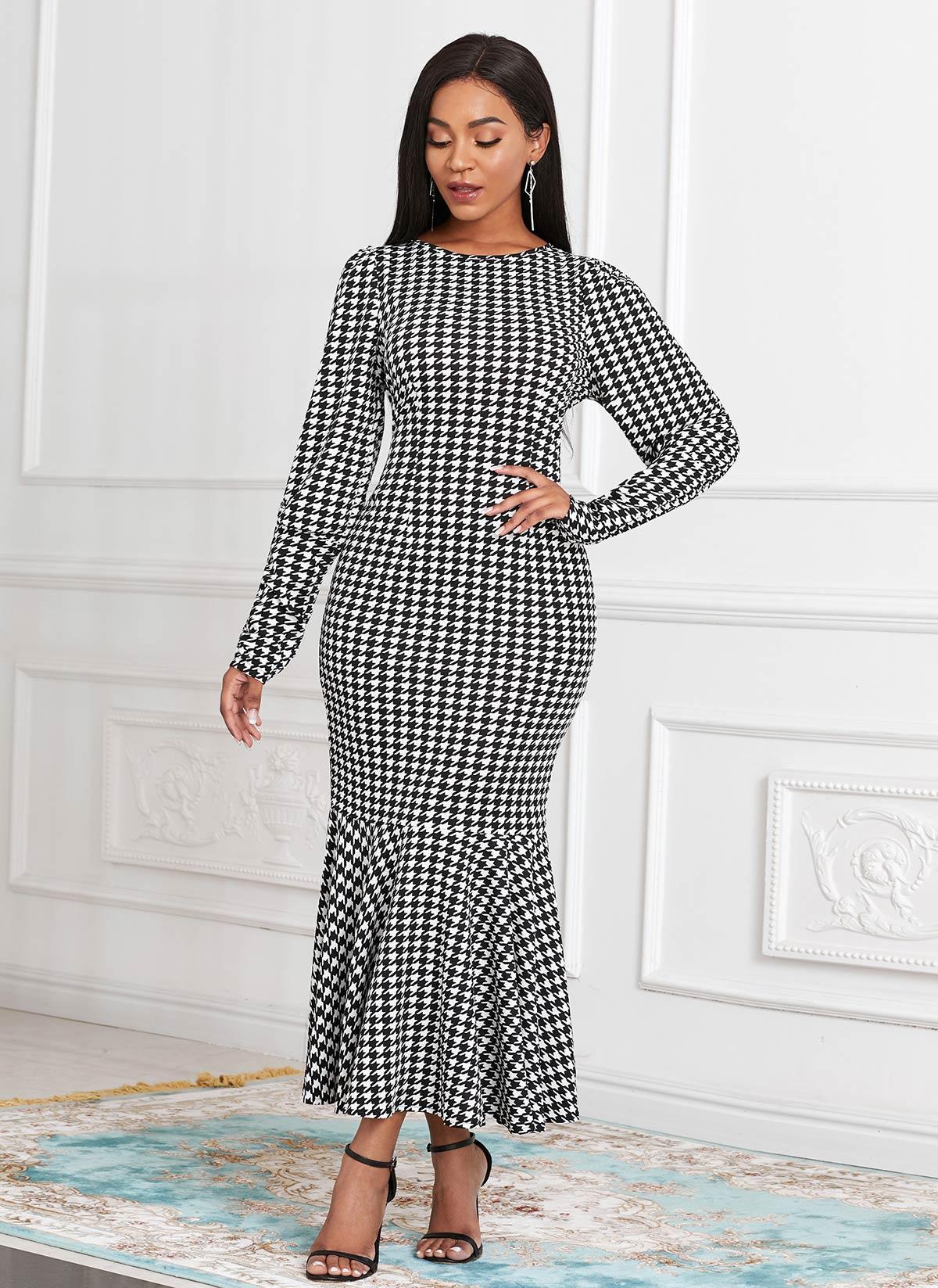 Houndstooth Print Long Sleeve Round Neck Mermaid Dress