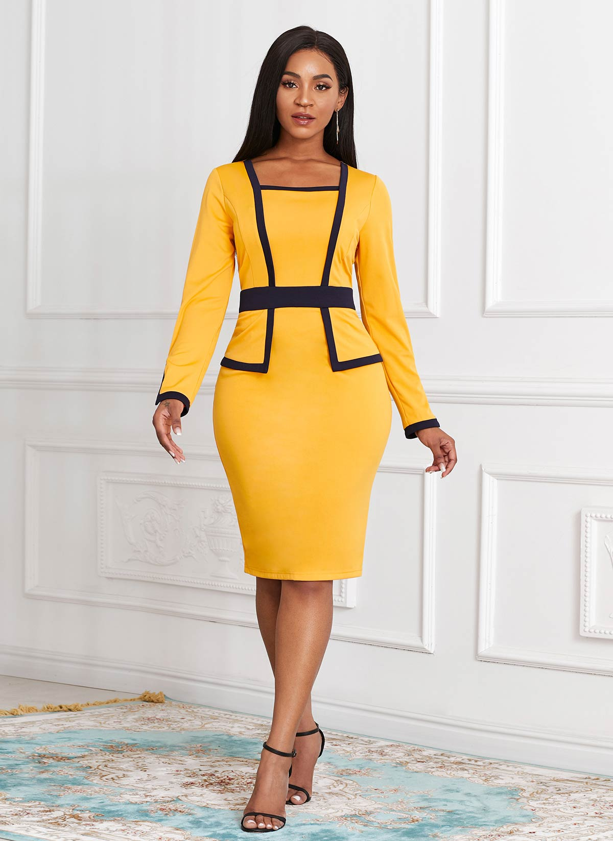 Contrast Long Sleeve Faux Two Piece Dress