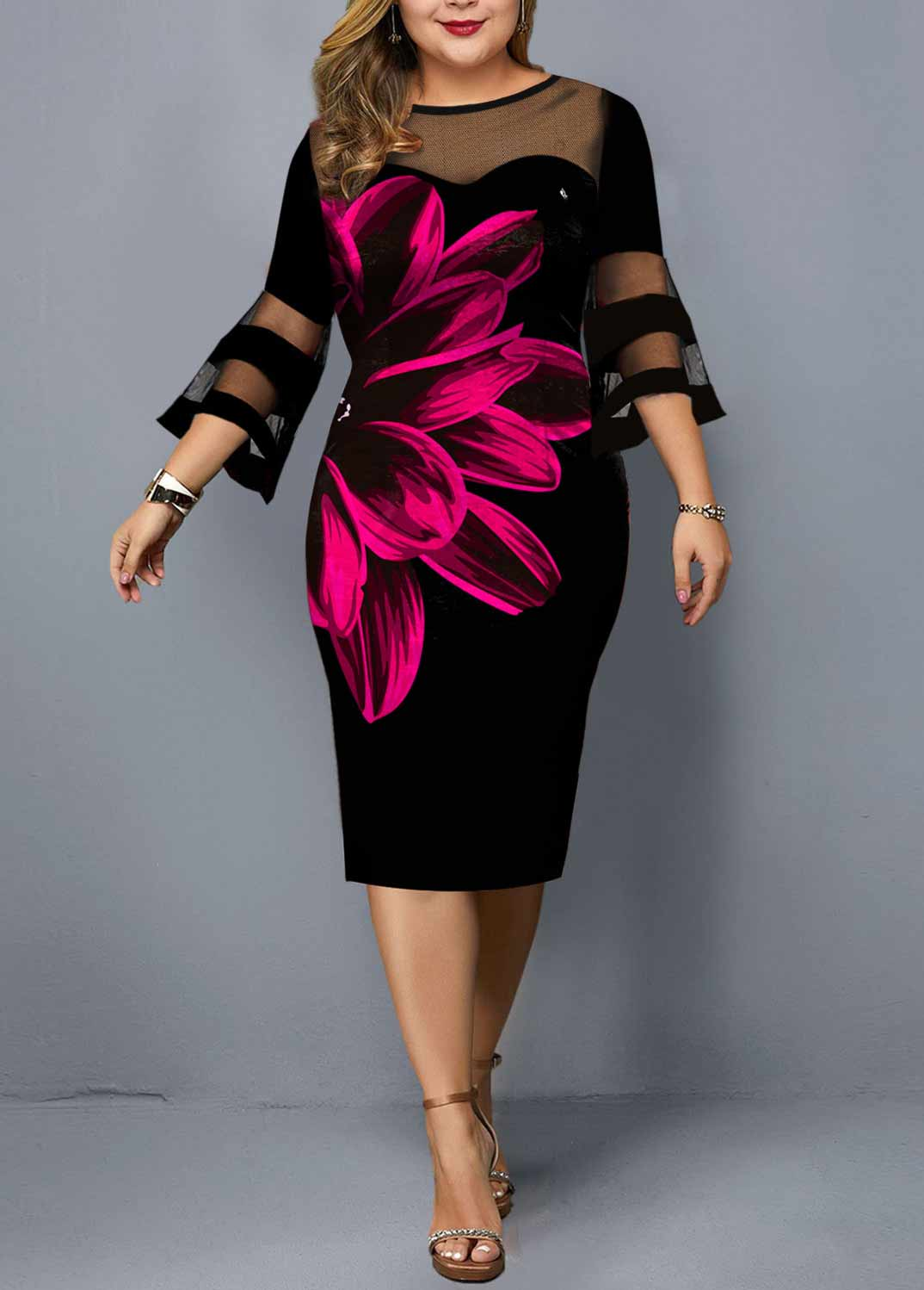 Plus Size Flare Sleeve Floral Print Dress