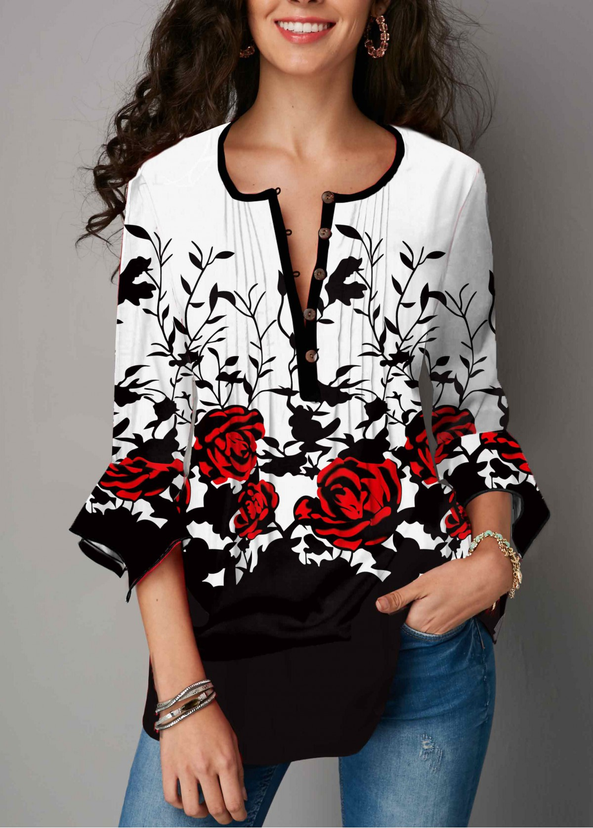 Floral Print Hanky Cuff Crinkle Chest T Shirt