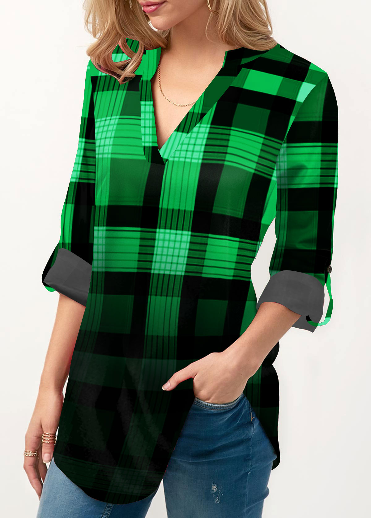 Plaid Print Split Neck Roll Tab Sleeve Blouse