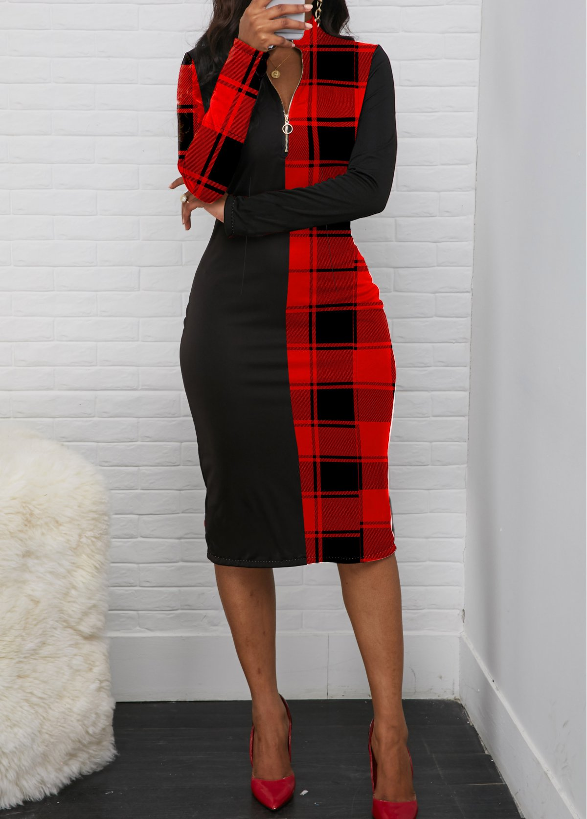 Plaid Print Quarter Zip Long Sleeve Dress