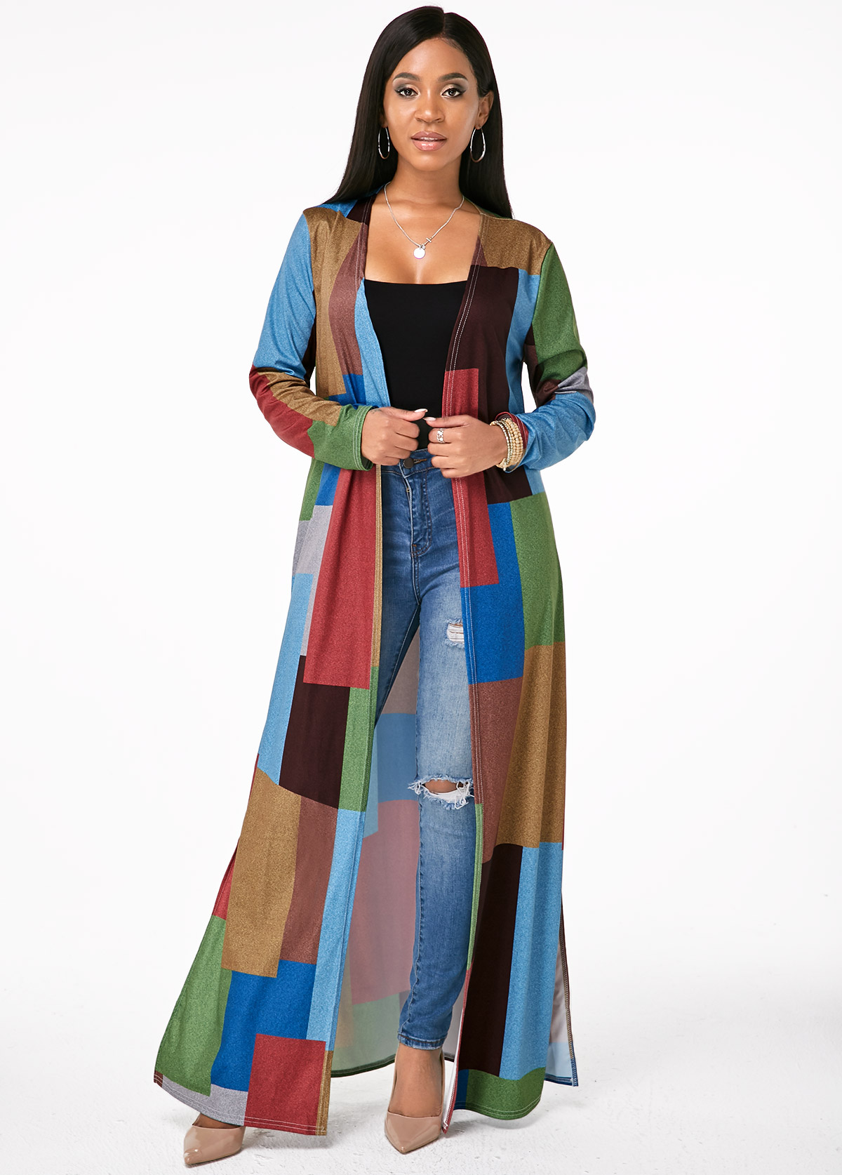 Printed Open Front Double Slit Cardigan