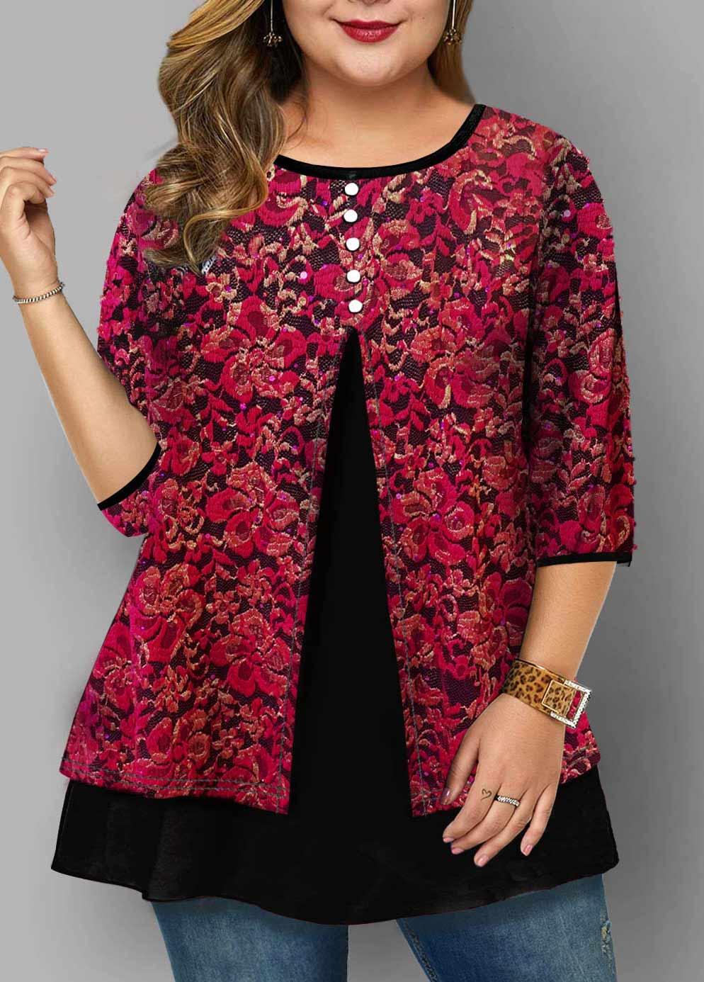 Plus Size Lace Panel Round Neck T Shirt