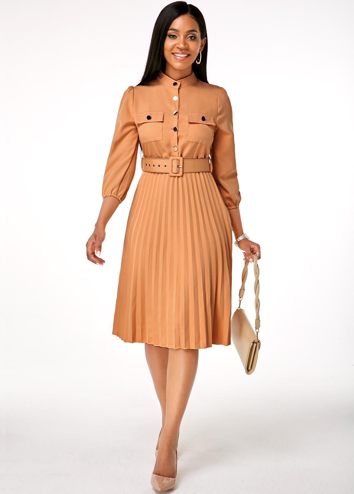 Button Up Buckle Belted Pleated Hem Dress