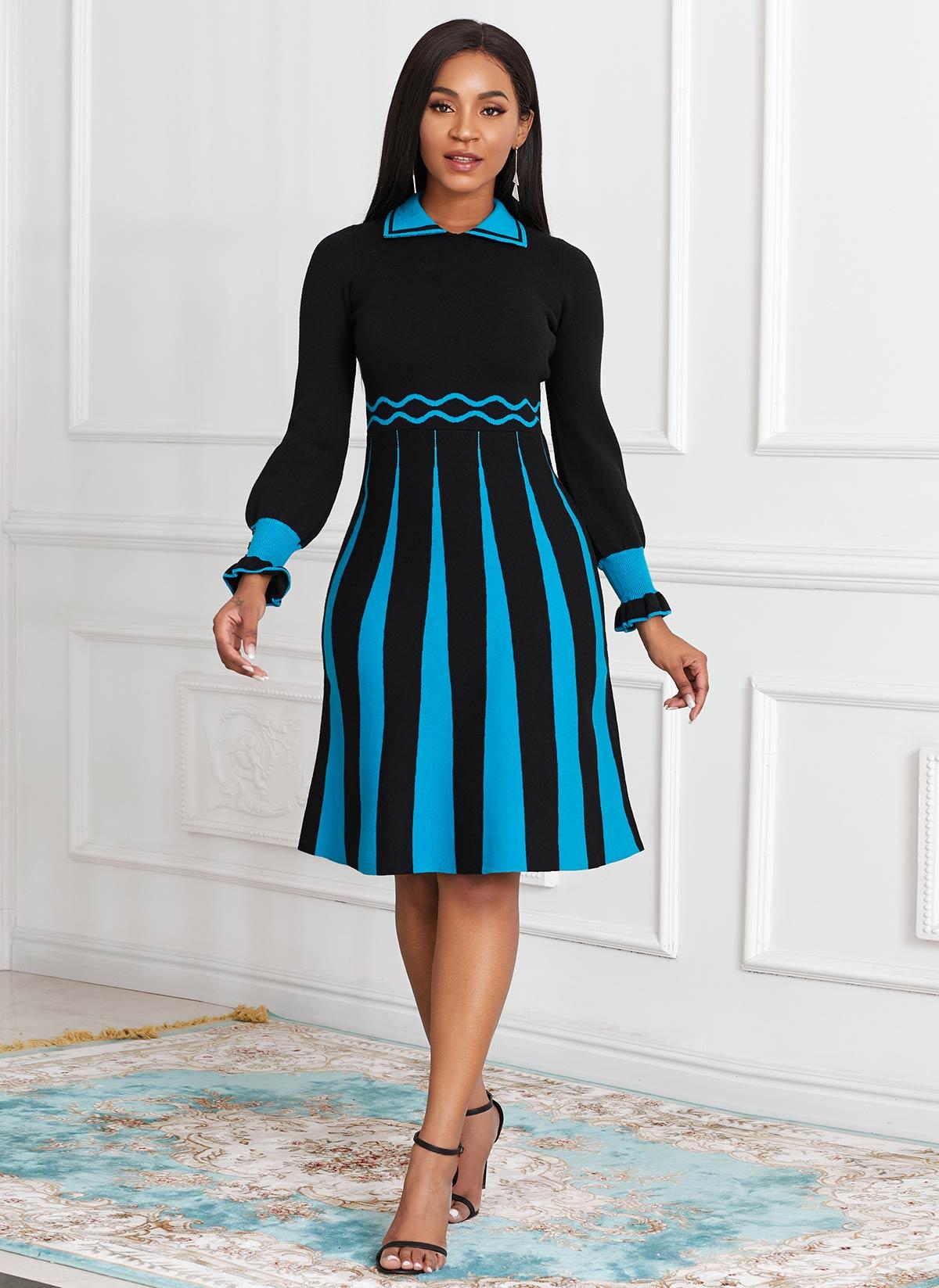 Long Sleeve Color Block Sweater Dress