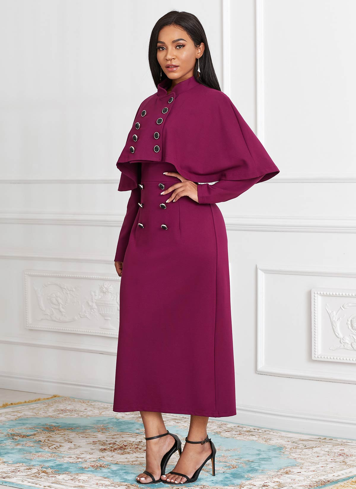 Cape and Button Front Long Sleeve Dress
