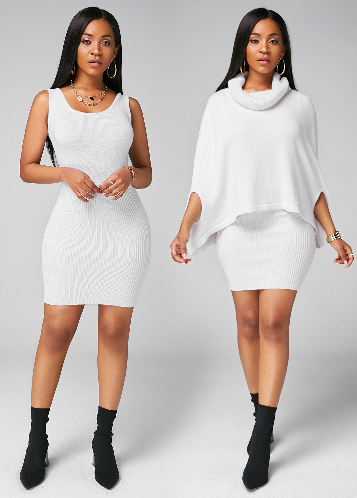 Cowl Neck Cape Shoulder Top and Sweater Dress