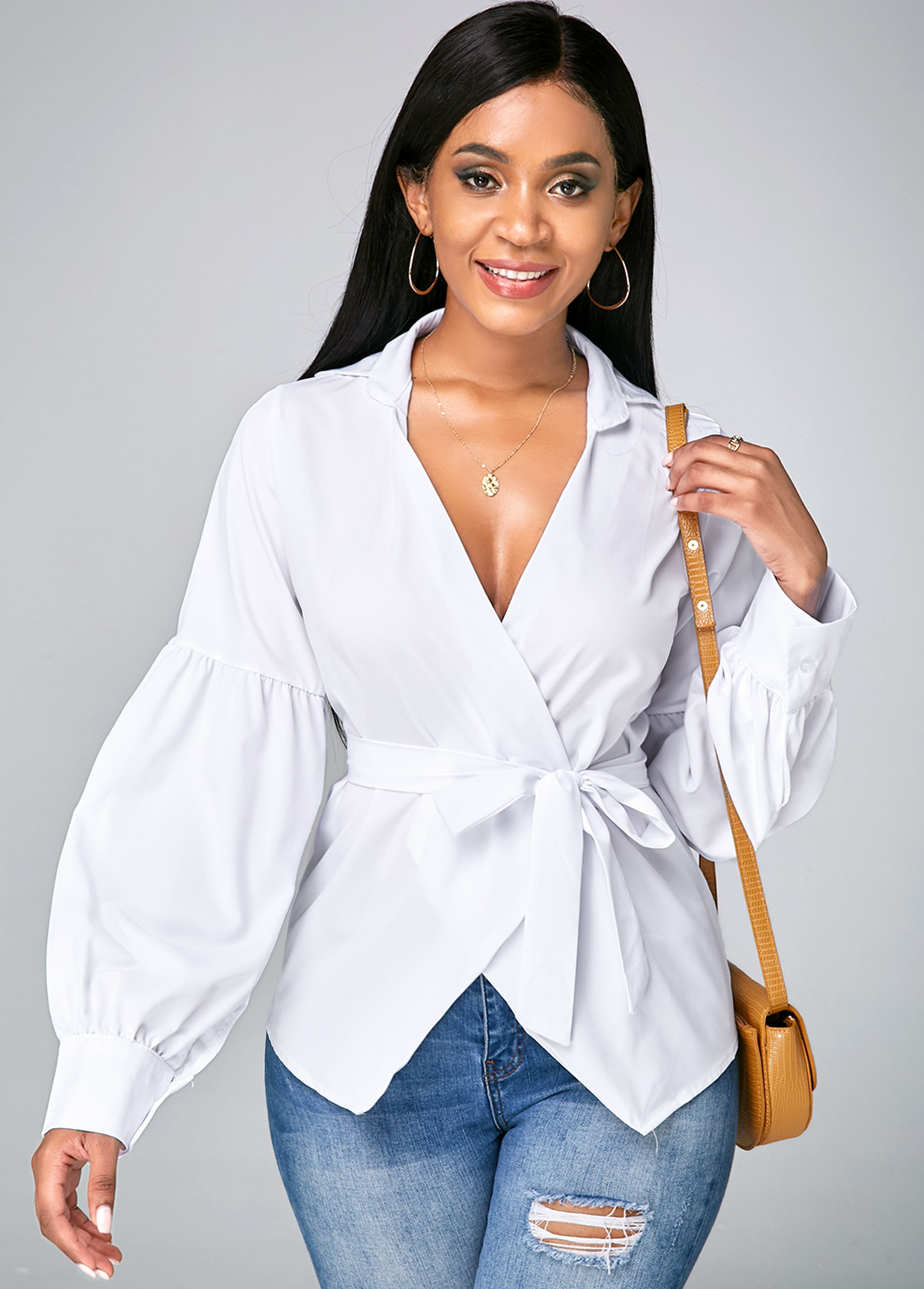 V Neck Lantern Sleeve Asymmetric Hem Blouse