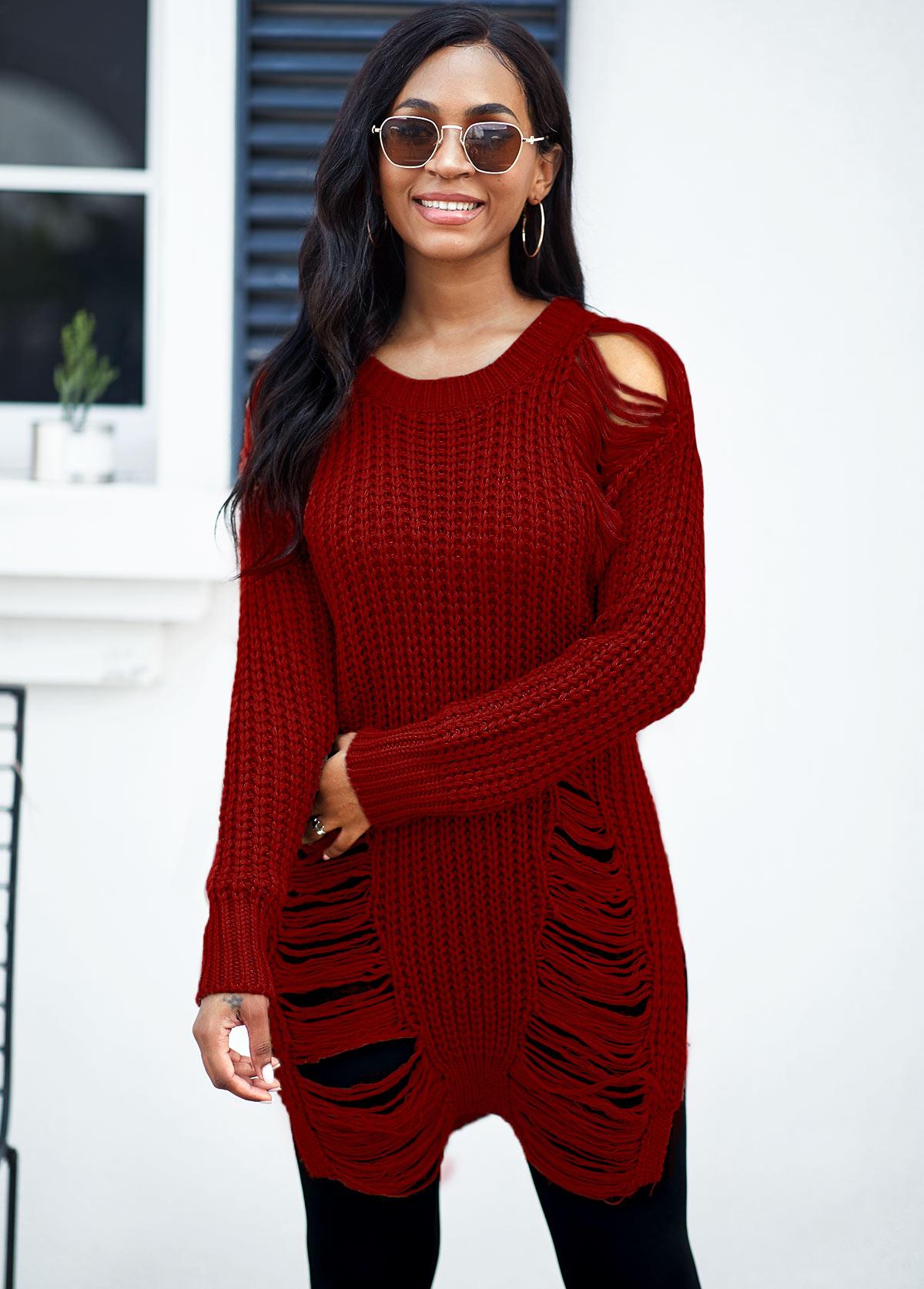 Round Neck Draped Fringe Long Sleeve Sweater