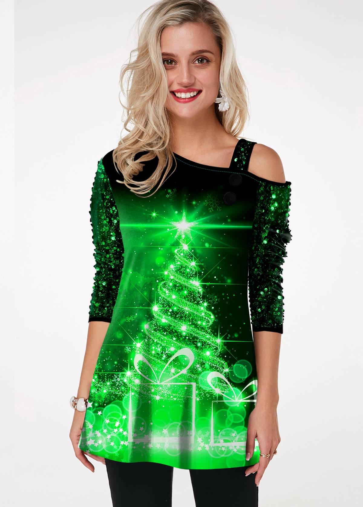 Christmas Print Sequin Panel Cold Shoulder T Shirt