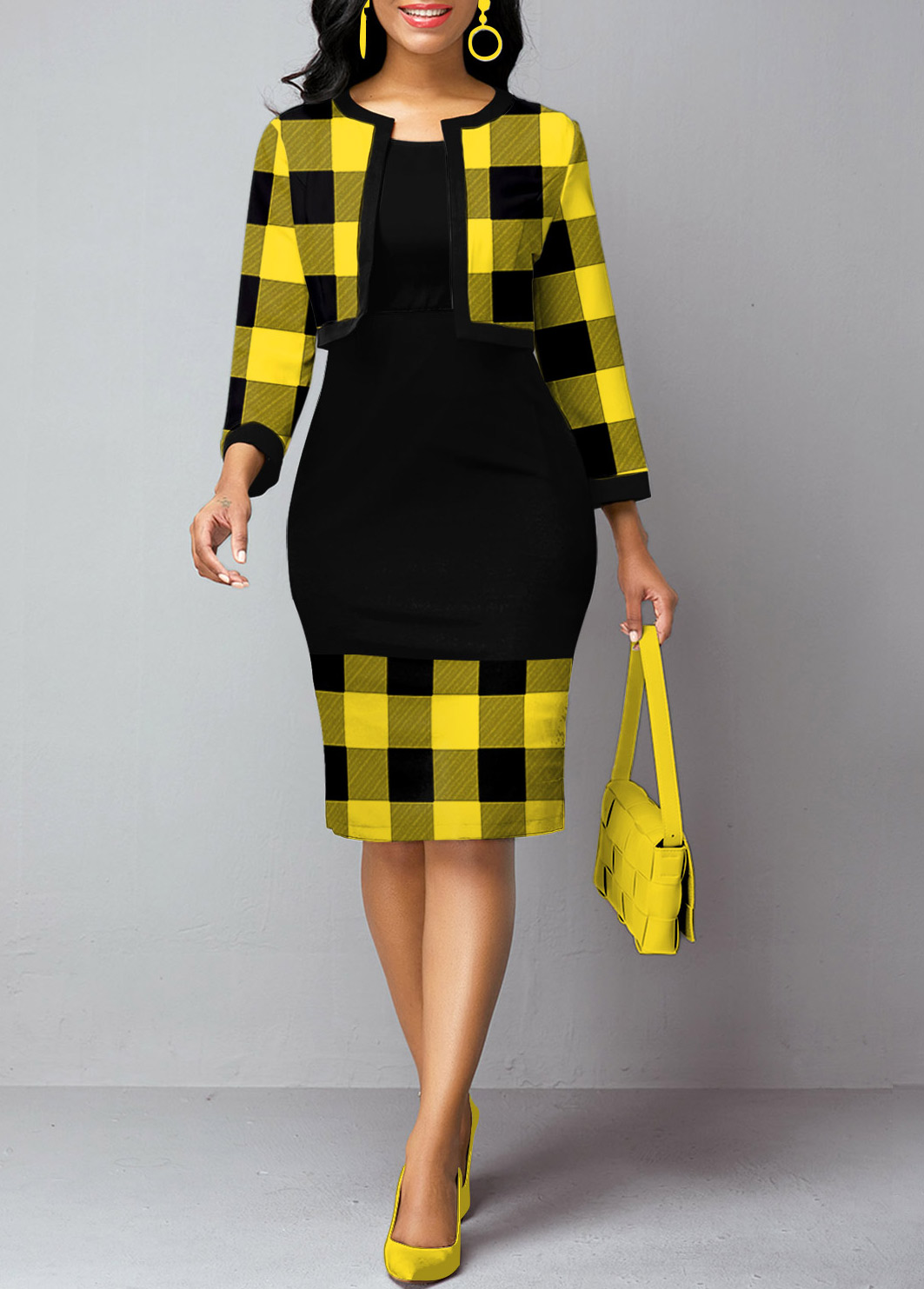 Plaid Print Open Front Cardigan and Sheath Dress