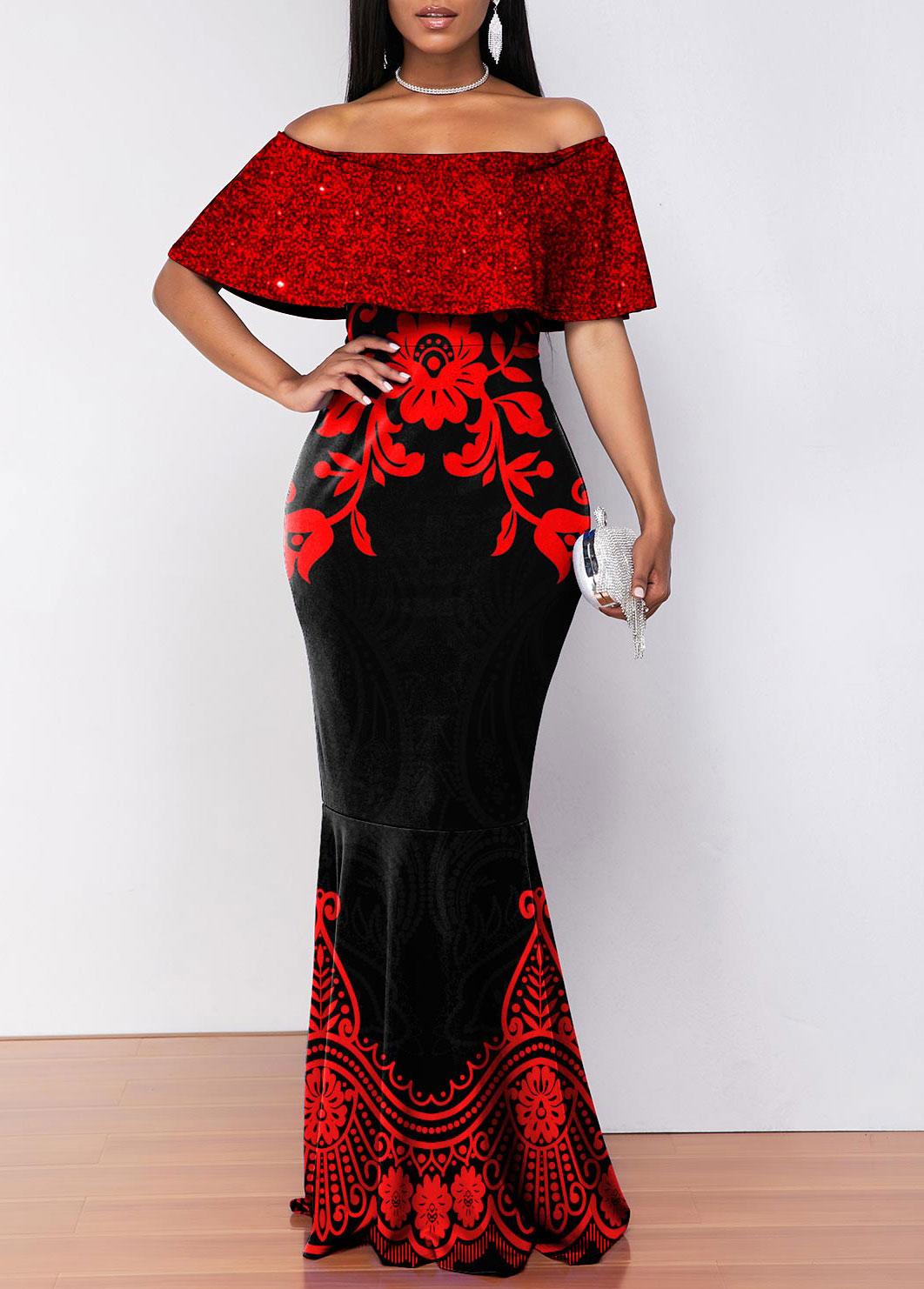 Sequin Overlay Floral Print Off Shoulder Mermaid Dress