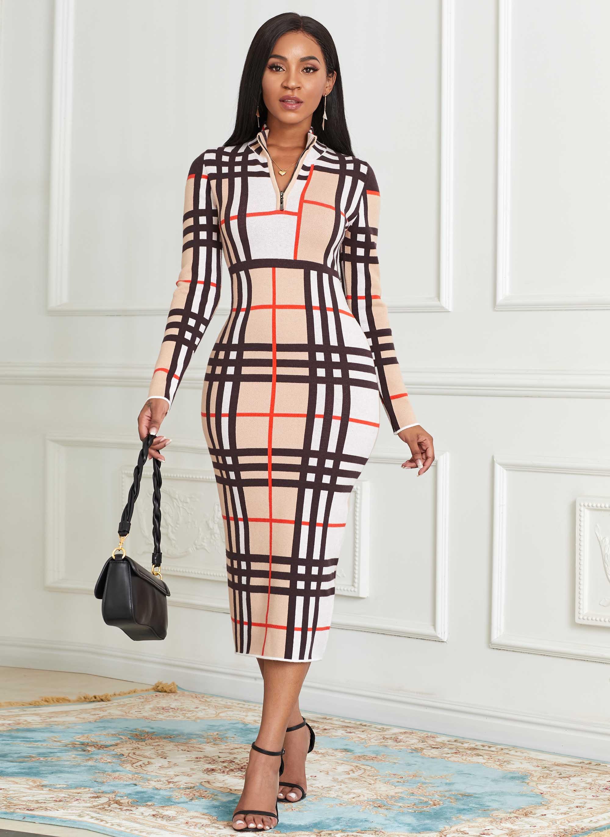 Plaid Zip Front Long Sleeve Sweater Dress