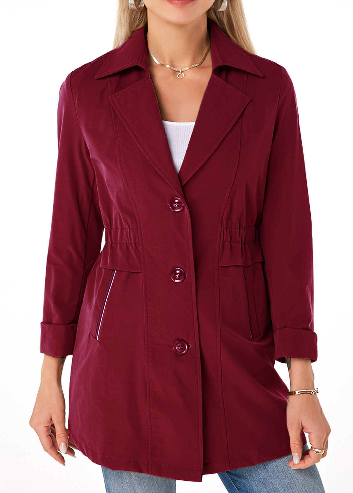 Button Up Turndown Collar Pocket Trench Coat