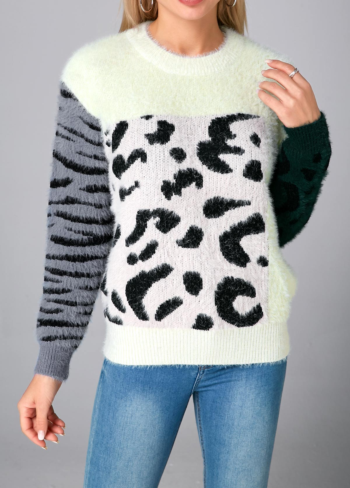 Leopard Contrast Round Neck Long Sleeve Sweater