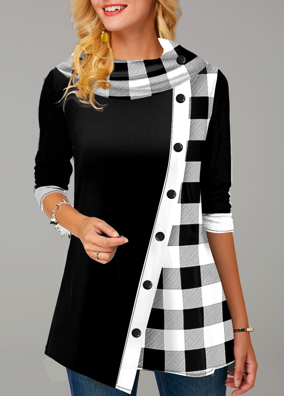 Plaid Inclined Button Long Sleeve Tunic Top