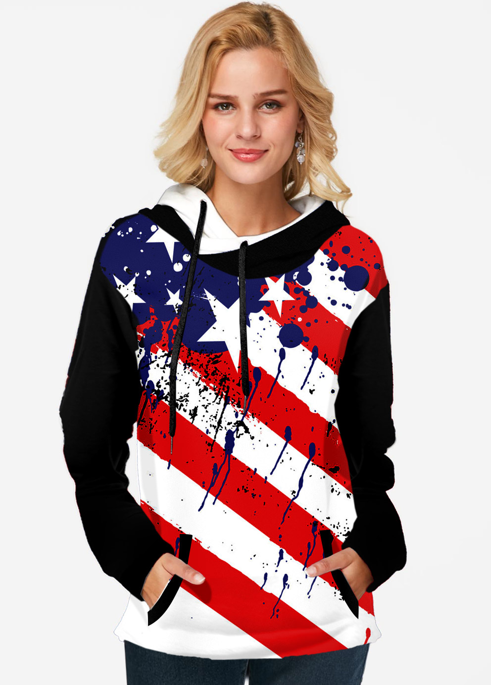 Hooded Collar American Flag Print Long Sleeve Tunic Top