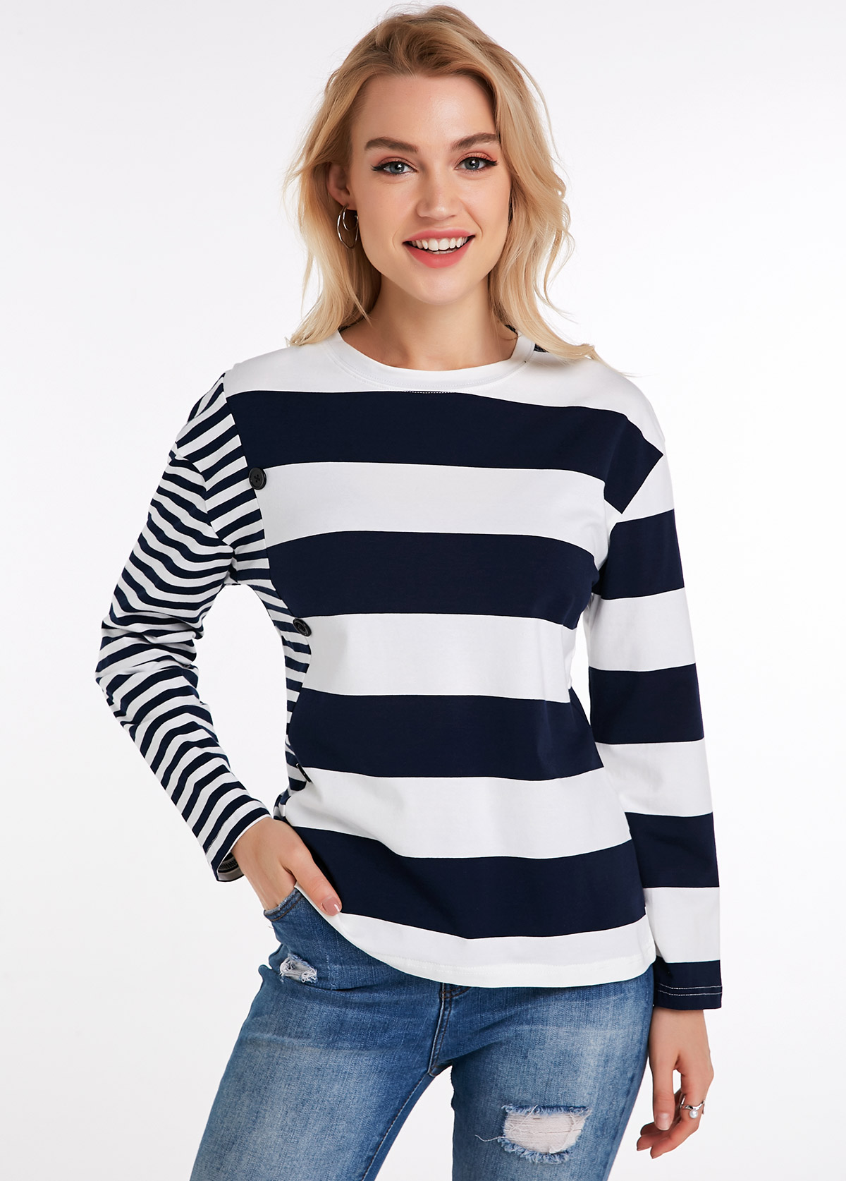 Striped Long Sleeve Round Neck T Shirt