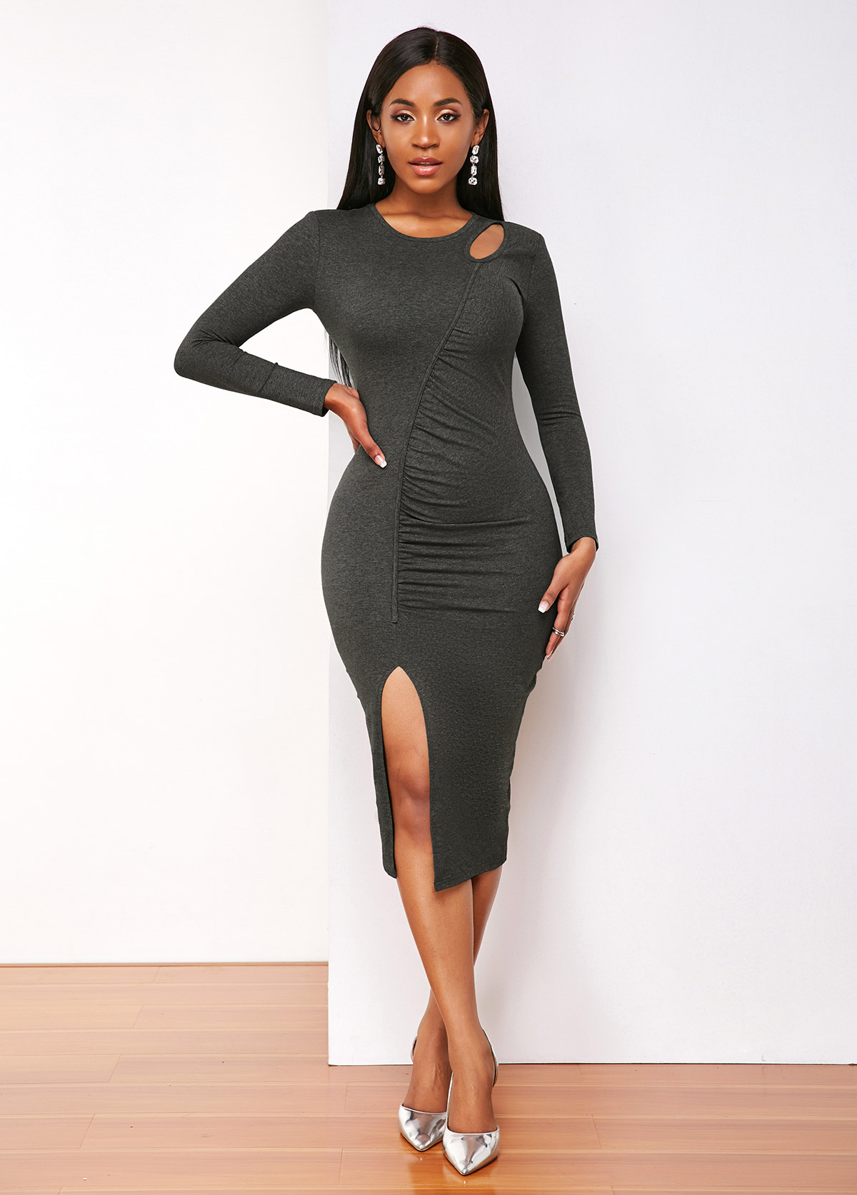 Side Slit Ruched Long Sleeve Bodycon Dress