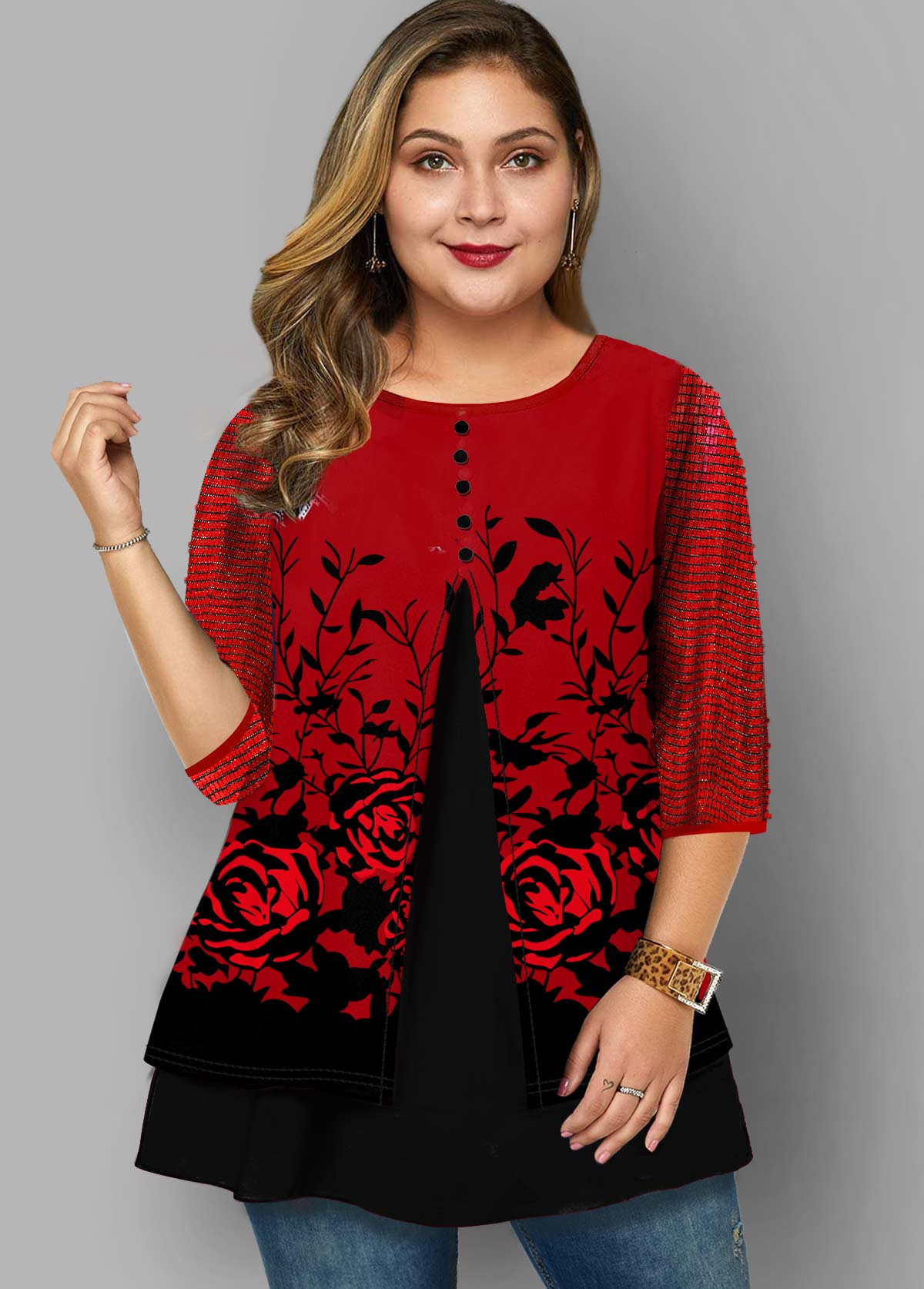 Plus Size Rose Print Round Neck T Shirt