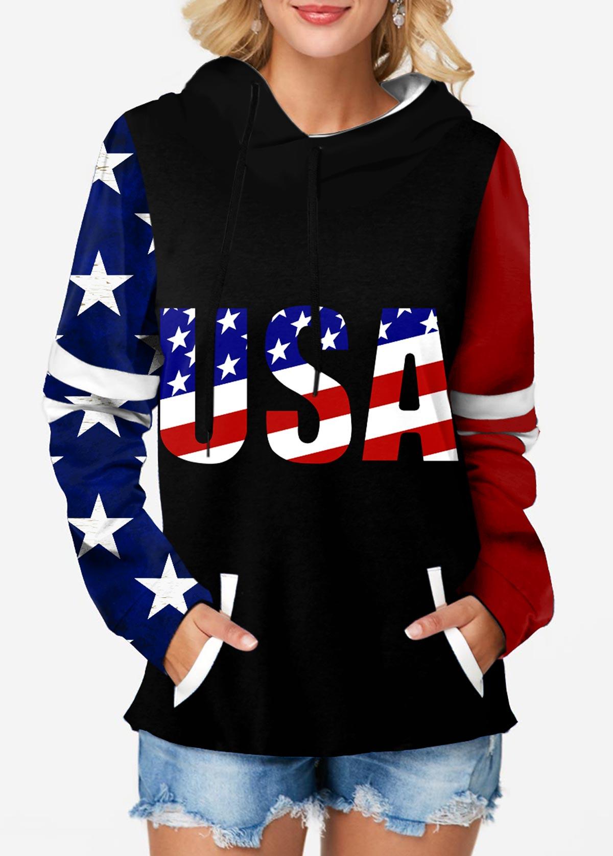 American Flag Print Long Sleeve Hoodie