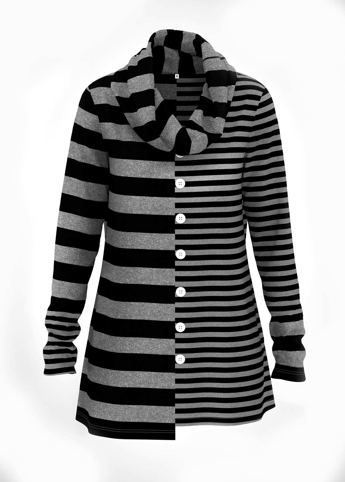 Striped Print Asymmetric Hem Button Detail Tunic Top