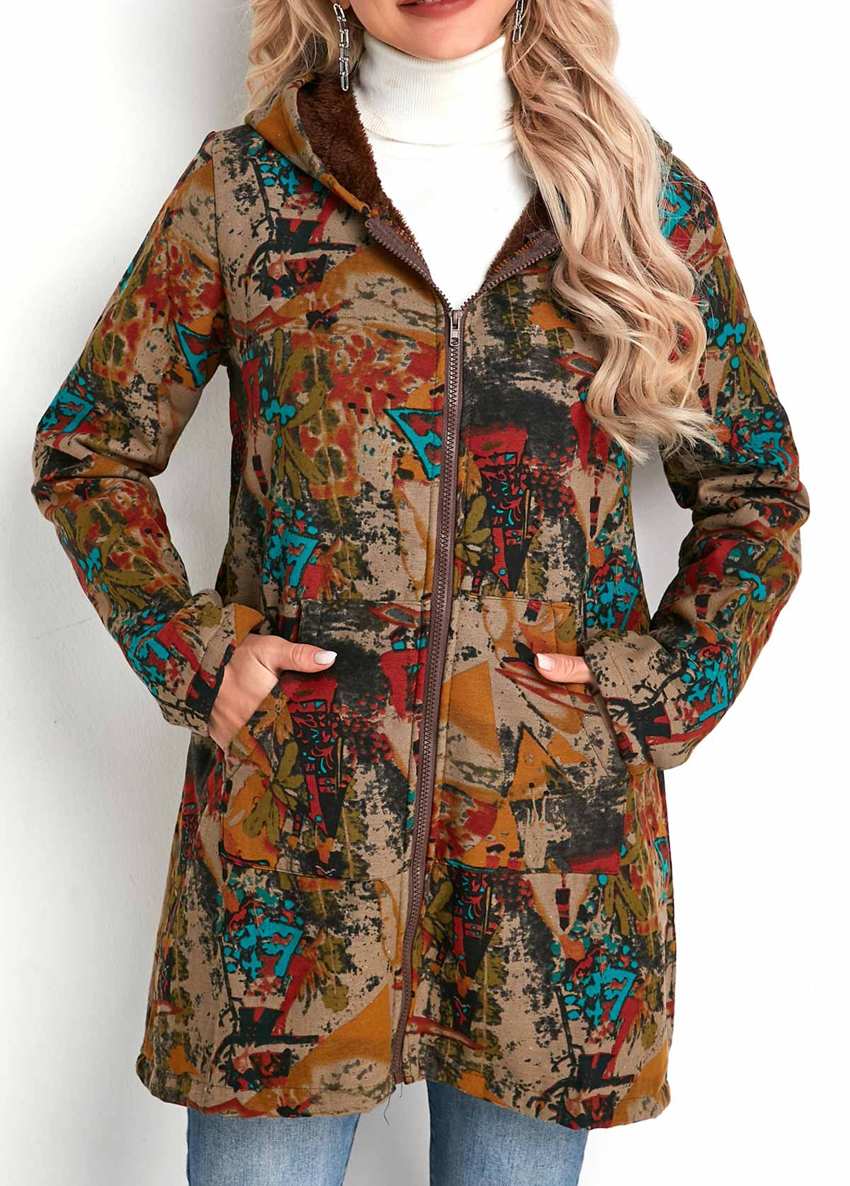Tribal Print Zipper Closure Hooded Collar Coat