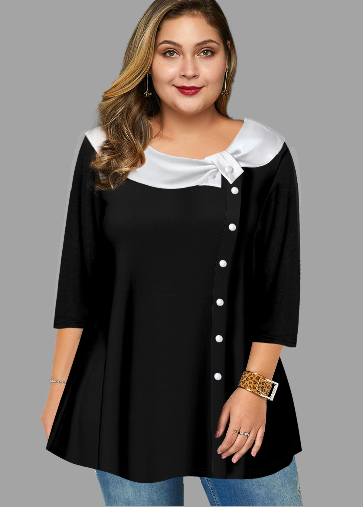 Plus Size Button Detail Contrast Blouse