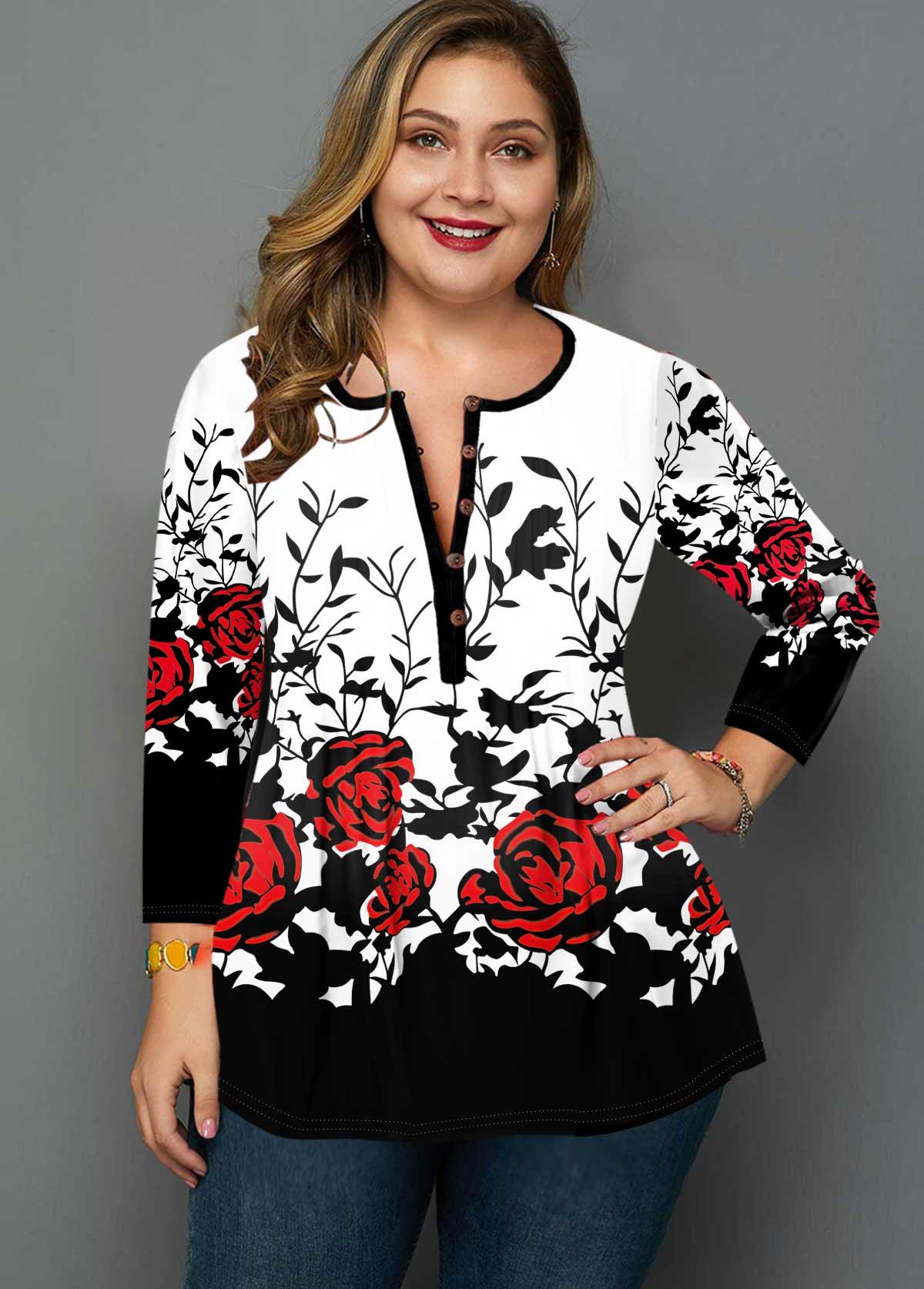 Plus Size Rose Print Button Detail T Shirt