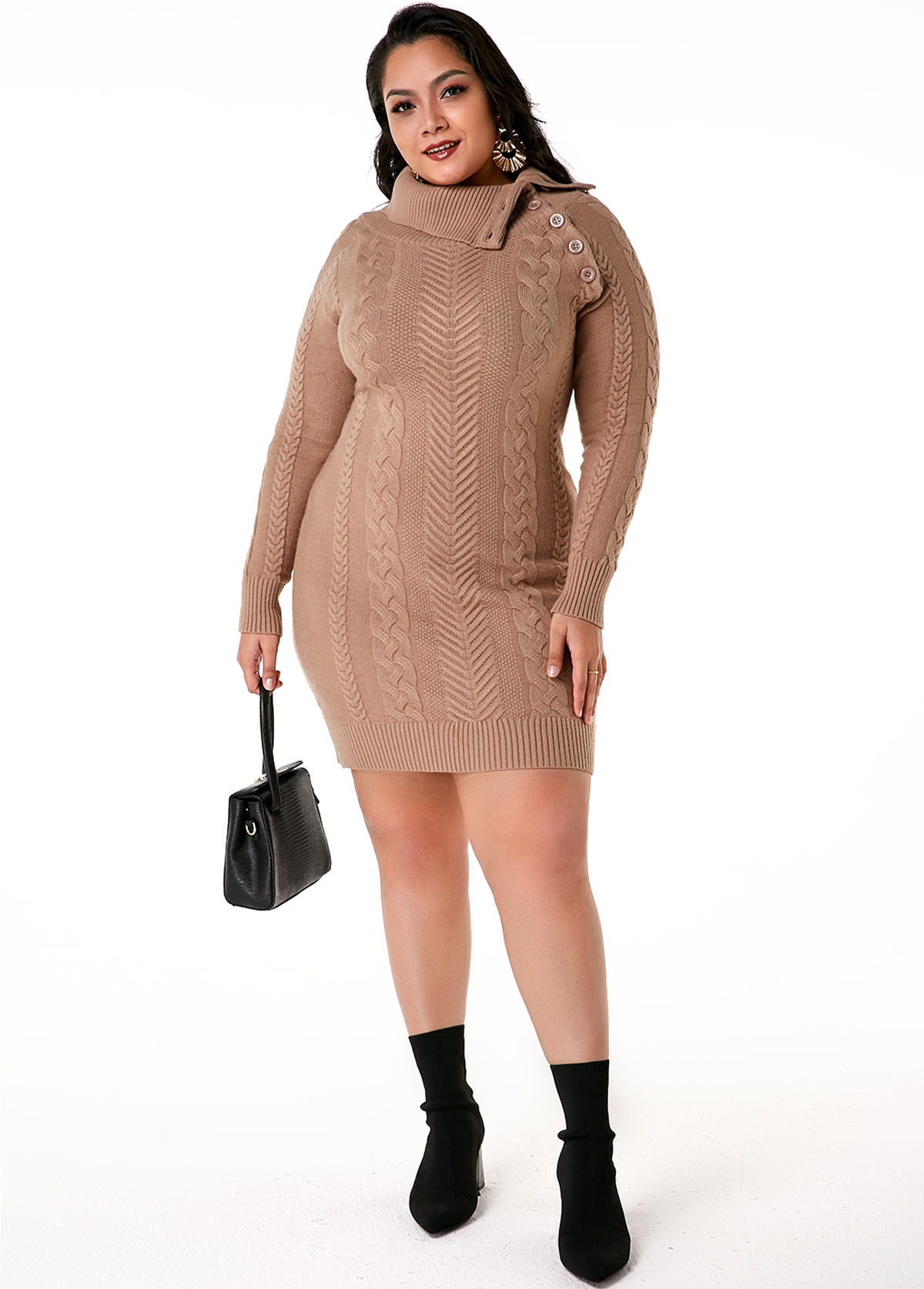 Plus Size Cable Knit Flap Collar Dress