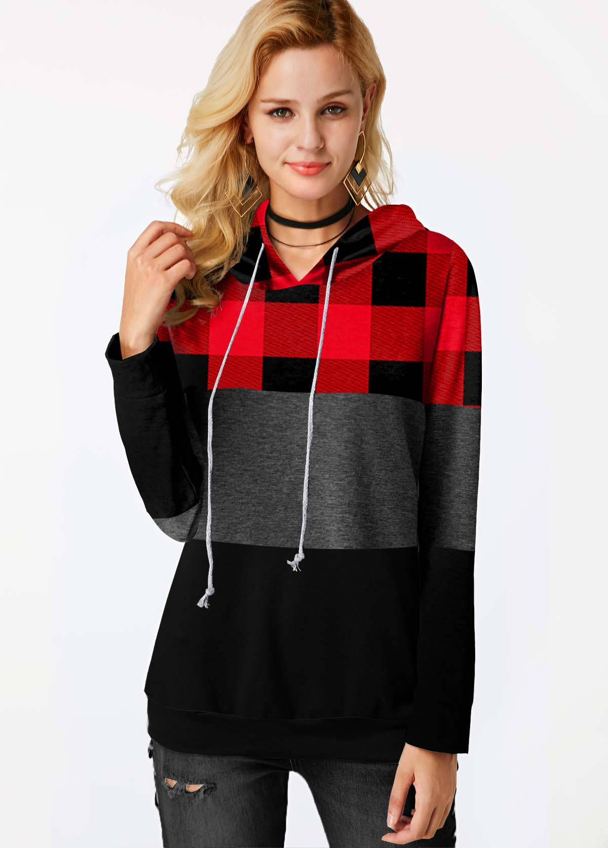 Plaid Contrast Long Sleeve Drawstring Hoodie