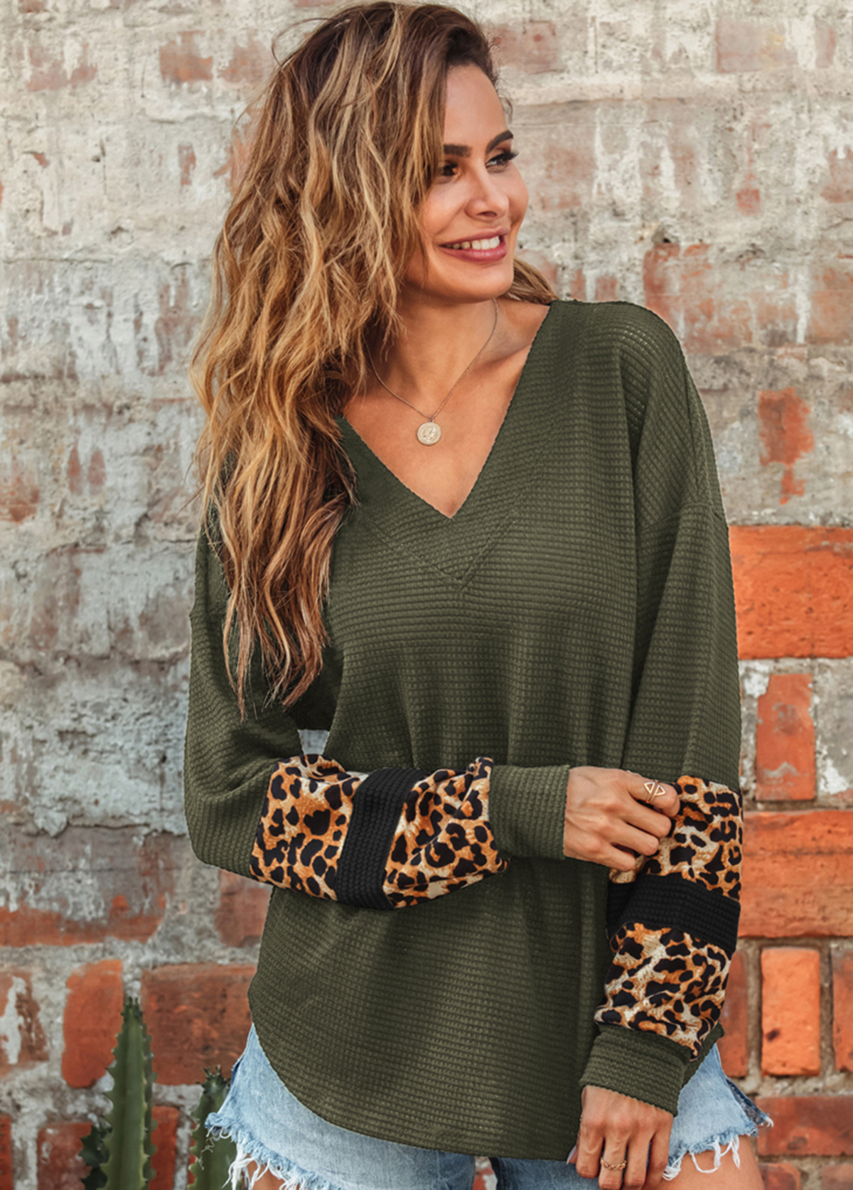Leopard V Neck Long Sleeve Sweatshirt