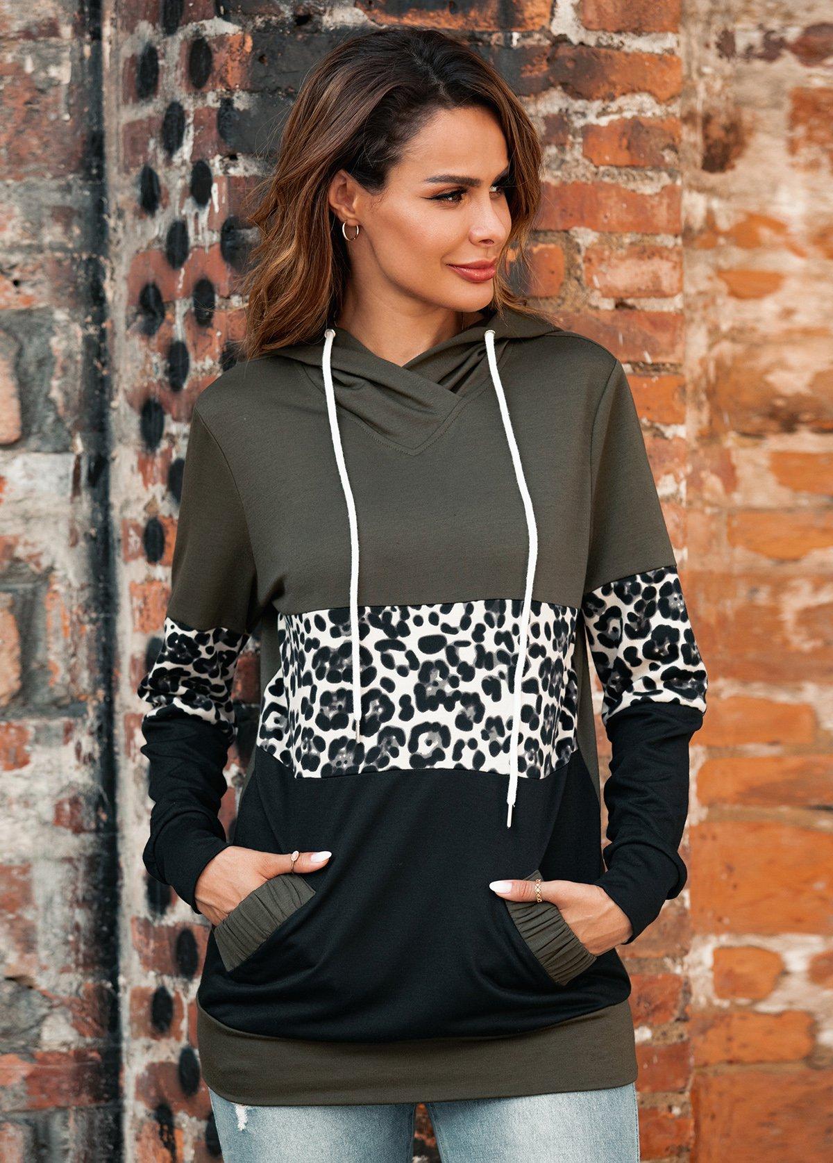 Leopard Print Kangaroo Pocket Contrast Hoodie