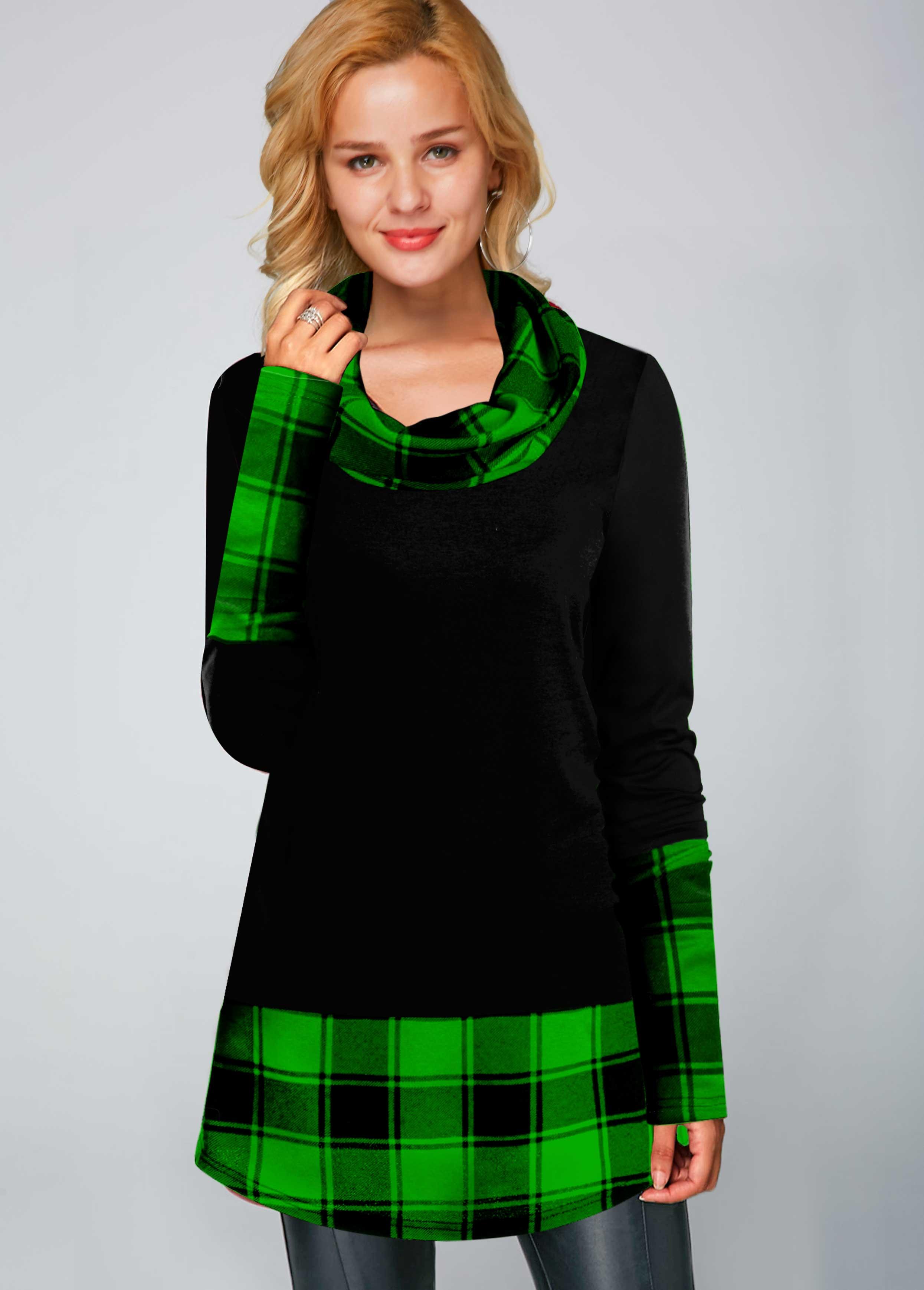 Plaid Print Cowl Neck Long Sleeve Tunic Top