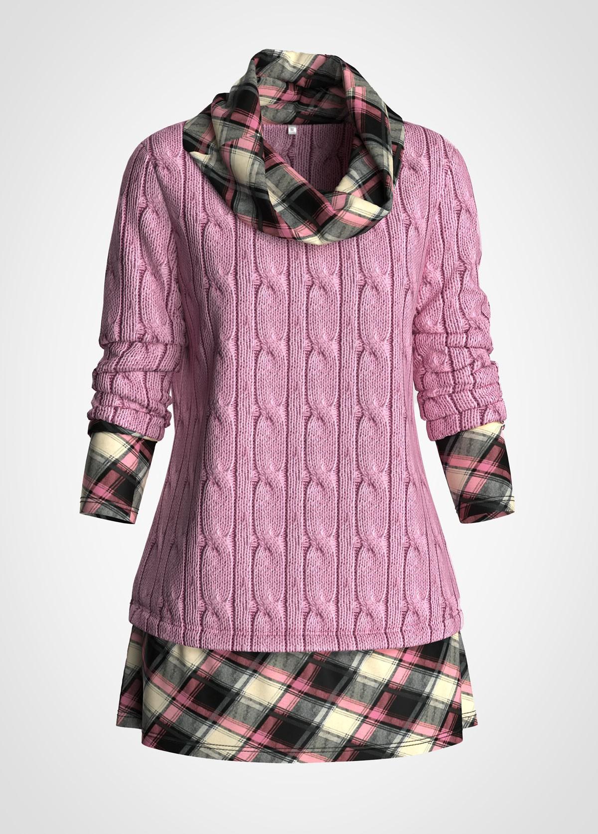 Plus Size Plaid Print Cowl Neck Cable Knit Sweater