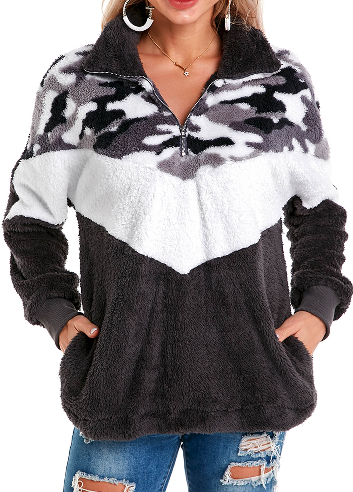 Camouflage Print Side Pocket Zip Front Sweatshirt