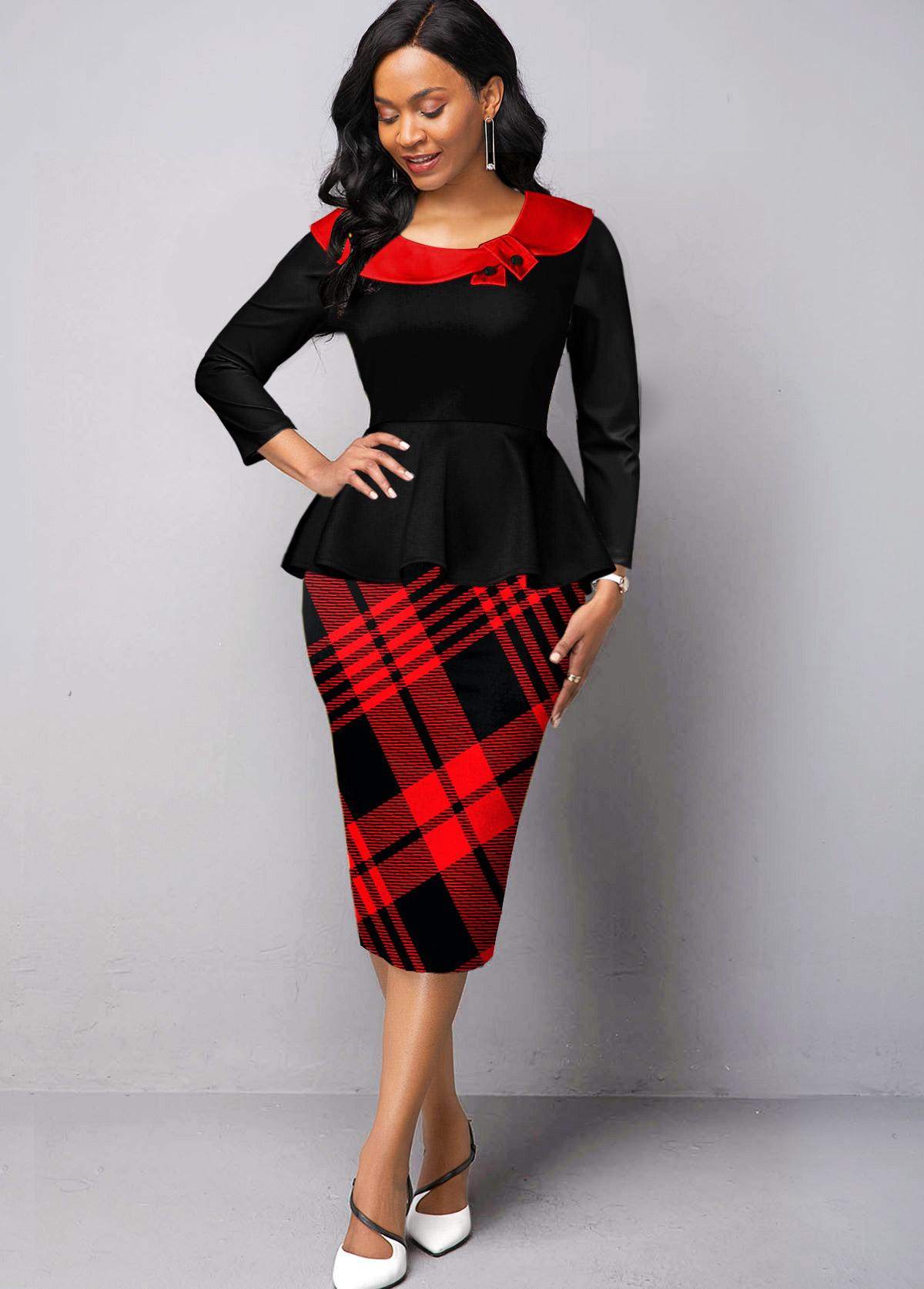 Long Sleeve Plaid Faux Two Piece Dress