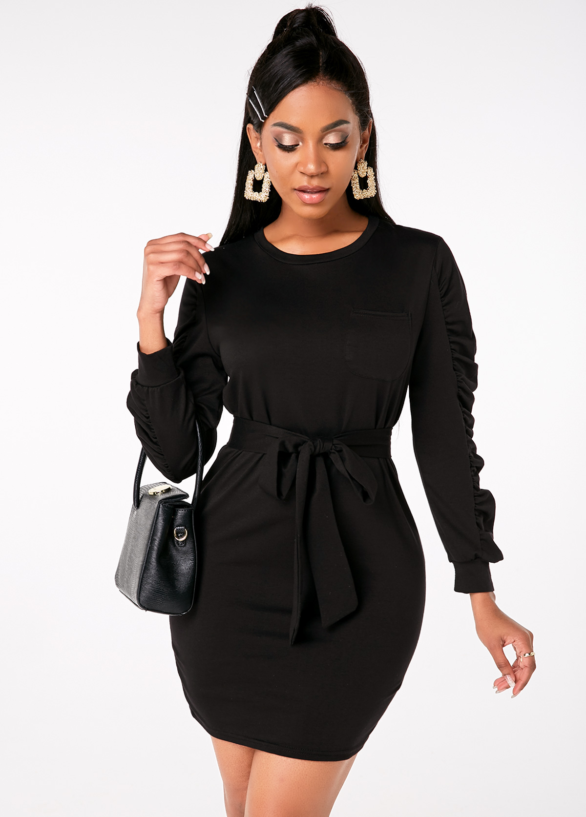 Belted Ruched Sleeve Round Neck Mini Dress