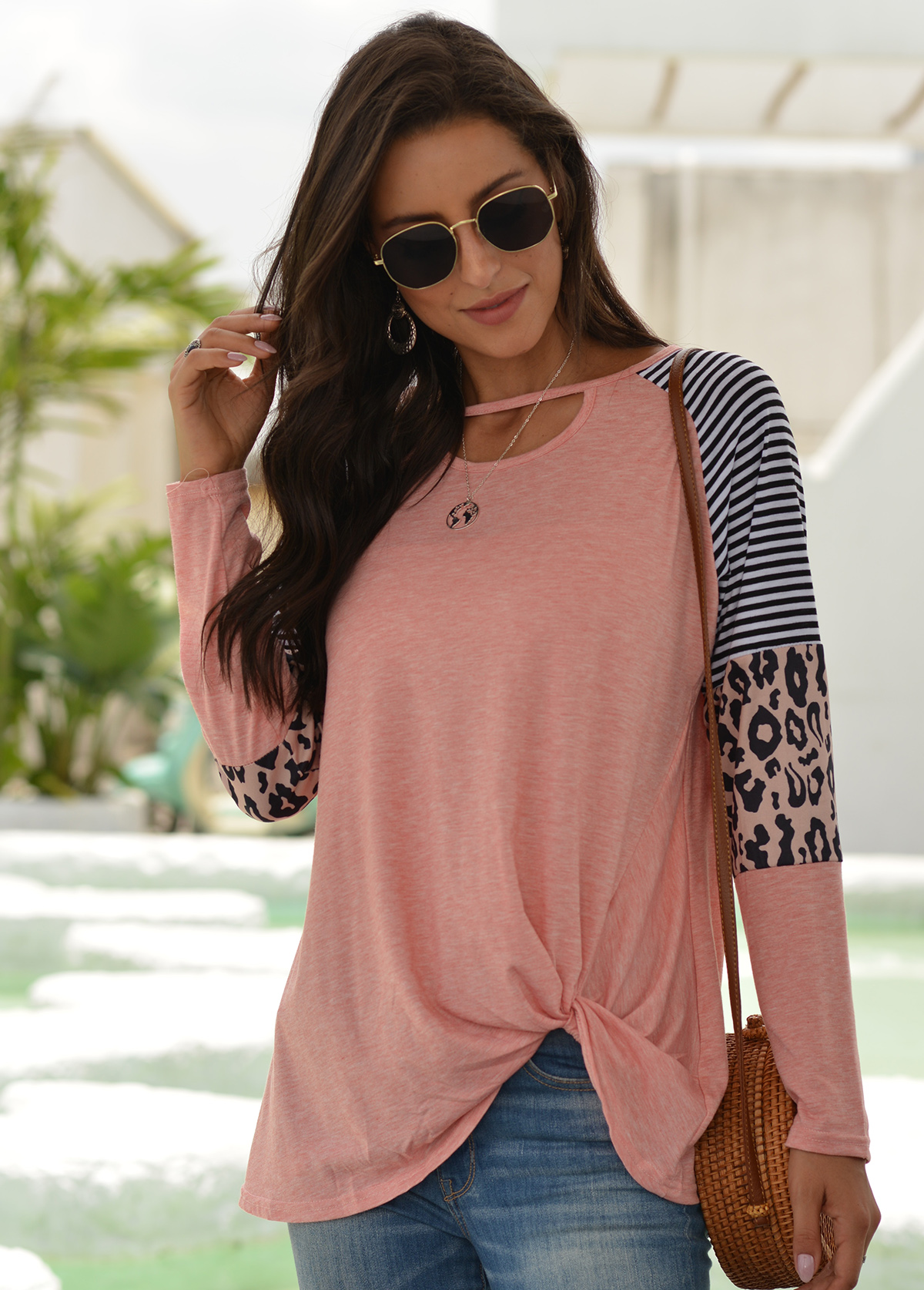 Knotted Hem Striped Cutout Neck T Shirt