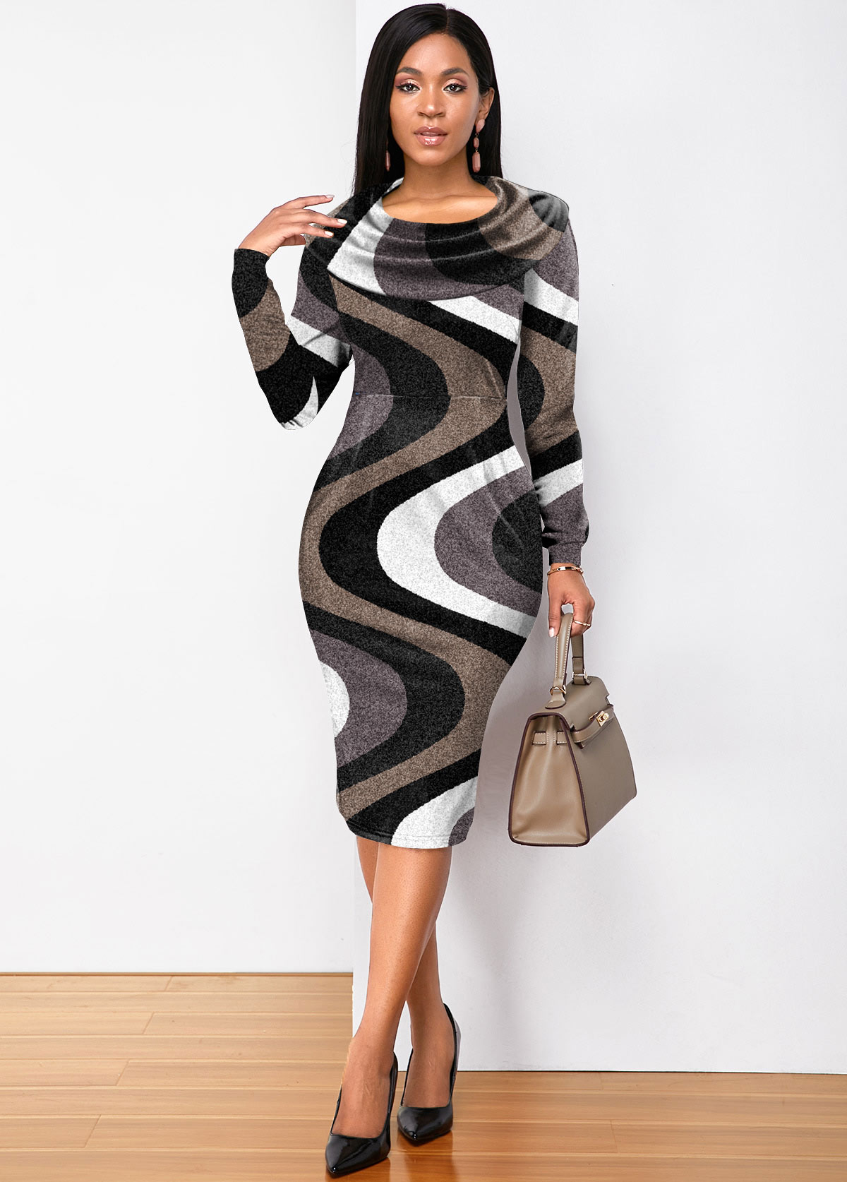 Wave Print Contrast Long Sleeve Dress