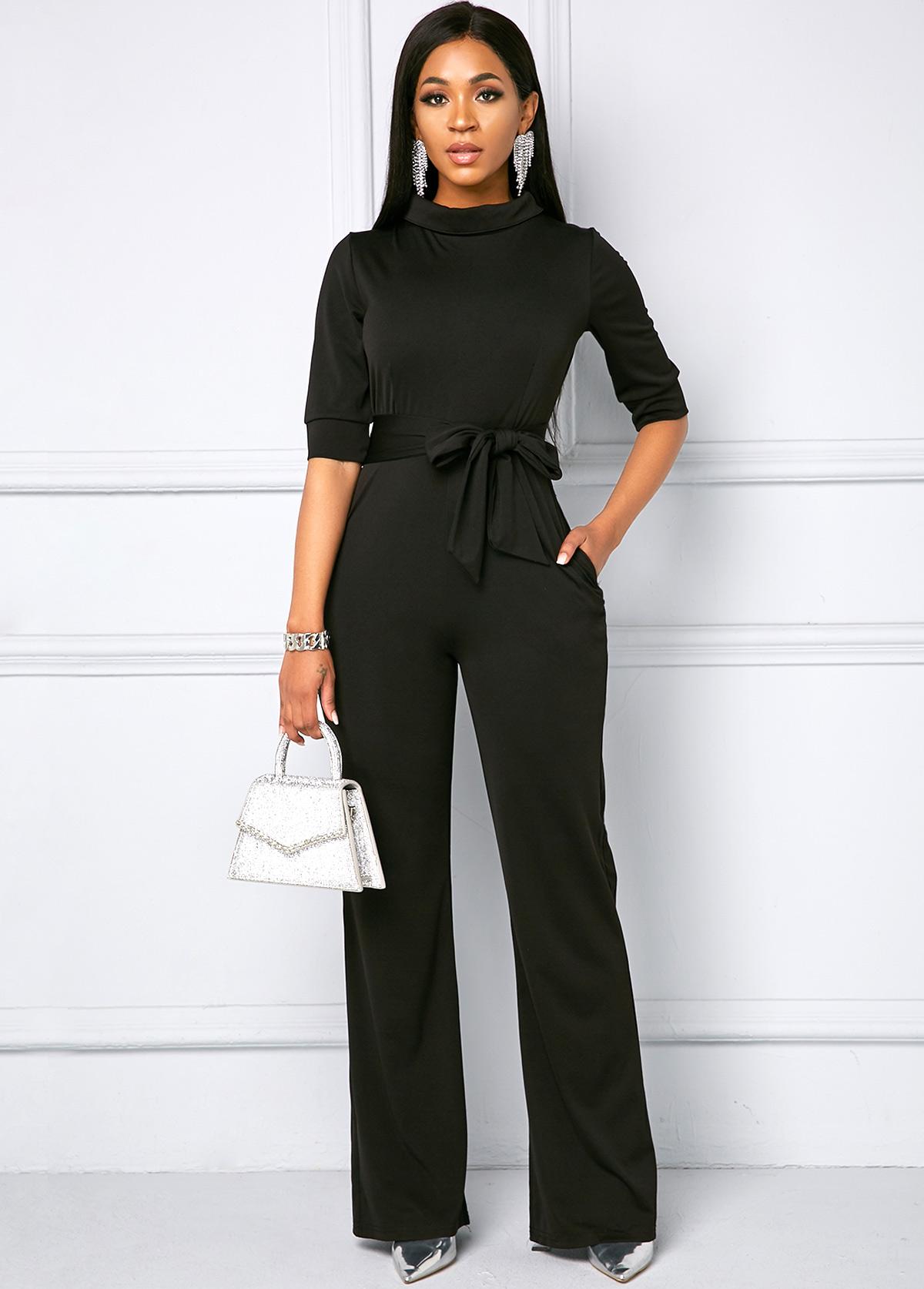 Belted Side Pocket Half Sleeve Jumpsuit