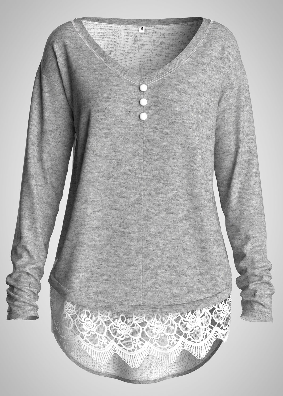 Plus Size Lace Panel Button Detail Long Sleeve Tunic Top