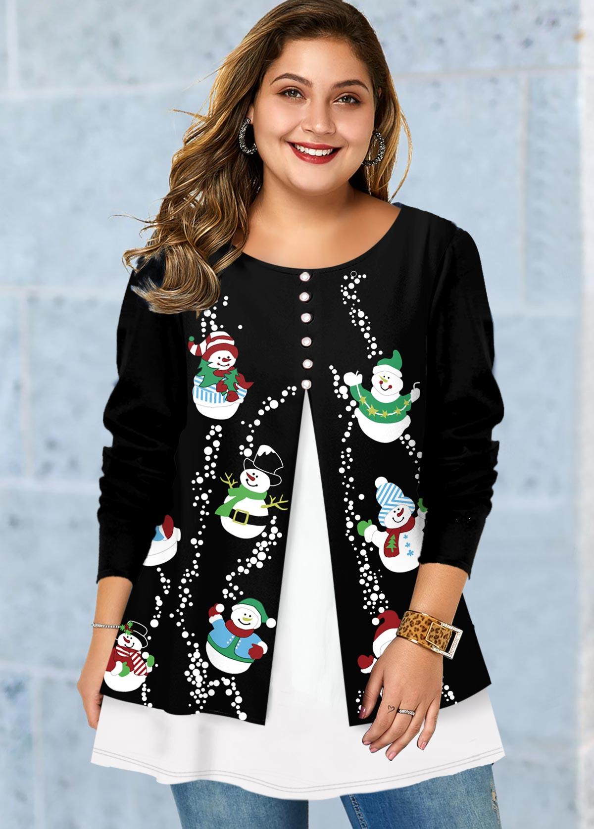 Plus Size Christmas Snowman Print Faux Two Piece T Shirt