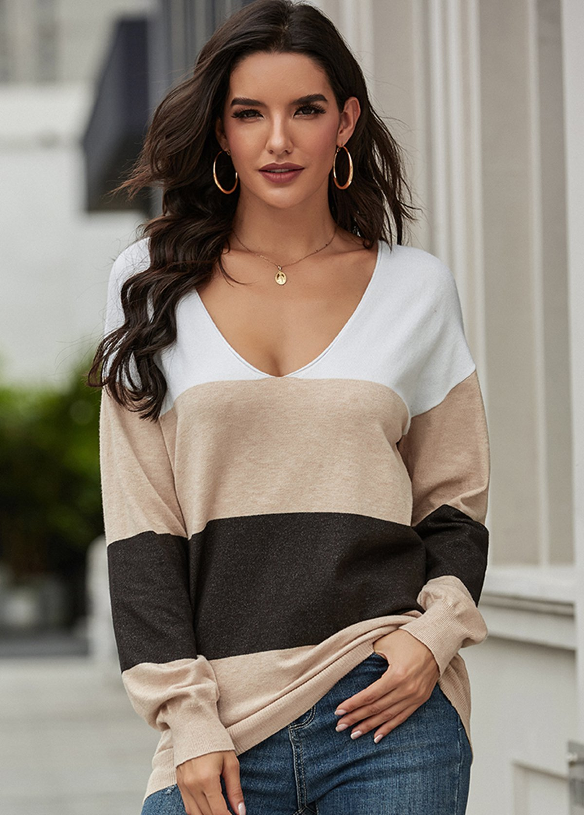 Contrast V Neck Long Sleeve Sweater