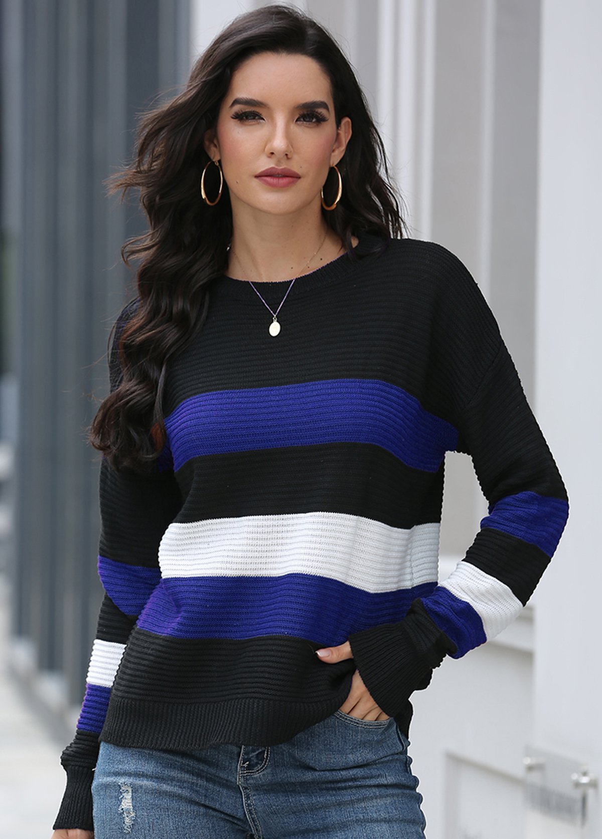 Contrast Round Neck Long Sleeve Sweater