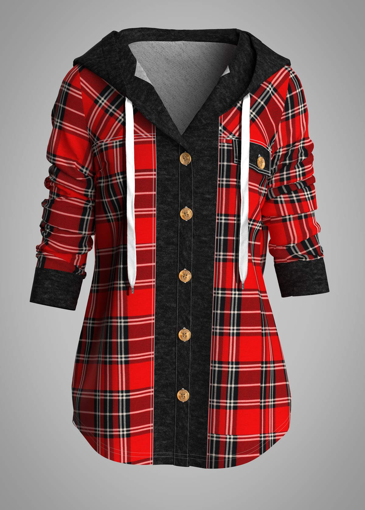 Plaid Hooded Collar Button Front Shirt