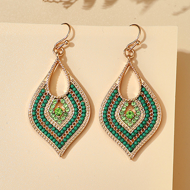 Rhinestone Detail Leaf Shape Green Earring Set