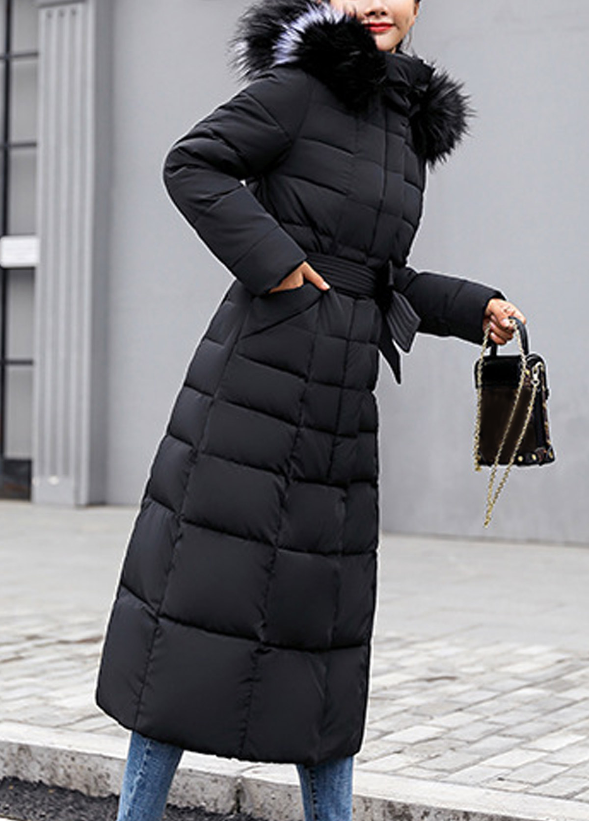 Belted Hooded Collar Faux Fur Padded Coat
